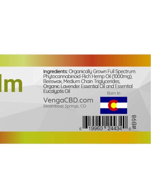 Venga CBD Recovery Balm Label